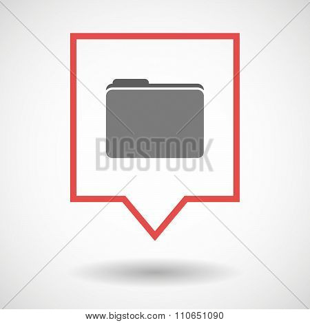 Isolated Tooltip Line Art Icon With A Folder