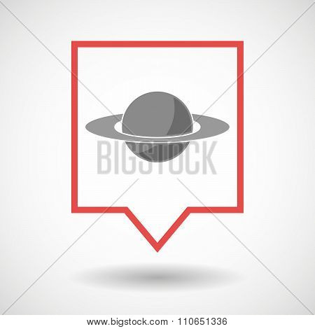 Isolated Tooltip Line Art Icon With The Planet Saturn