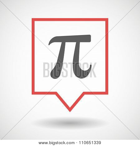 Isolated Tooltip Line Art Icon With The Number Pi Symbol