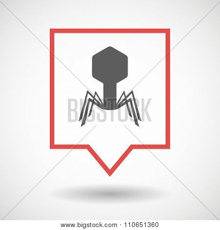 Isolated Tooltip Line Art Icon With A Virus