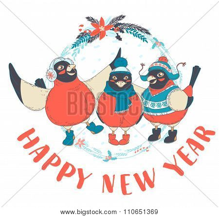 Festive Funny Happy New Year card with three birds bullfinches w