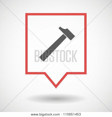 Isolated Tooltip Line Art Icon With A Hammer