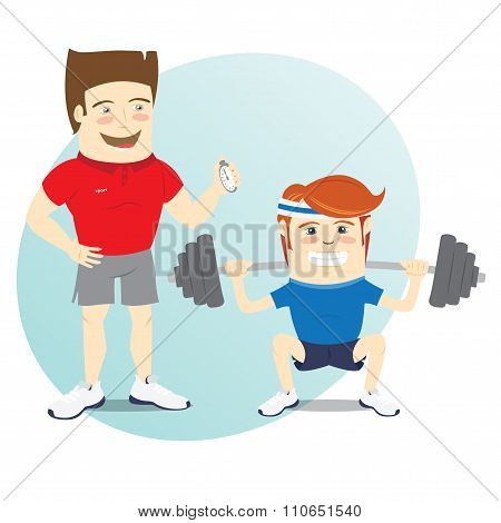 Fitness personal trainer and funny sportsman doing squats with b