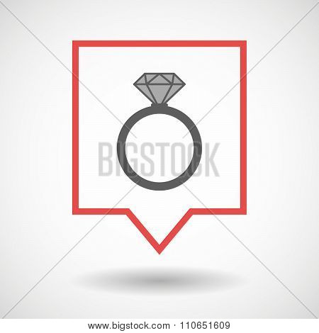 Isolated Tooltip Line Art Icon With An Engagement Ring