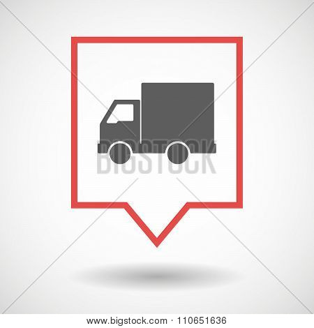 Isolated Tooltip Line Art Icon With A  Delivery Truck