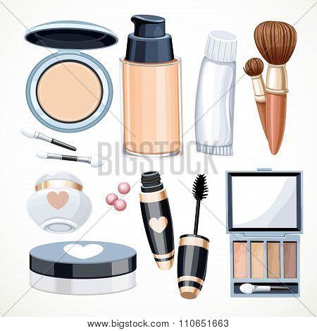 Set Of Objects Cosmetics Cream,eye Shadow, Face Powder, Brush, F