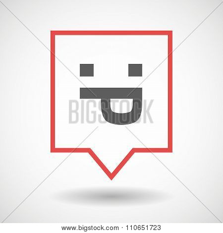 Isolated Tooltip Line Art Icon With A Sticking Out Tongue Text Face