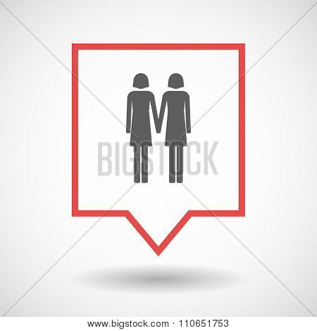 Isolated Tooltip Line Art Icon With A Lesbian Couple Pictogram