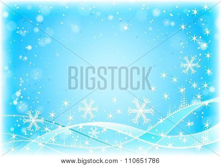 Winter blue horizontal background with snowflakes and waves