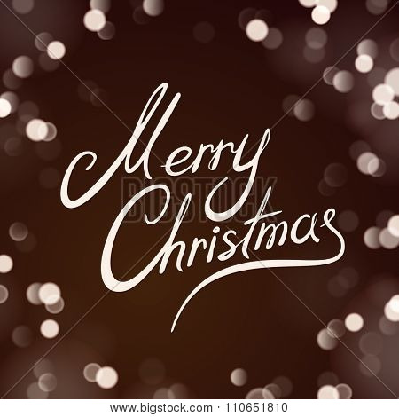 Merry Christmas Greeting Card on Dark Background with Unfocused Lights