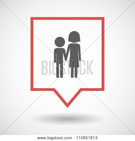Isolated Tooltip Line Art Icon With A Childhood Pictogram