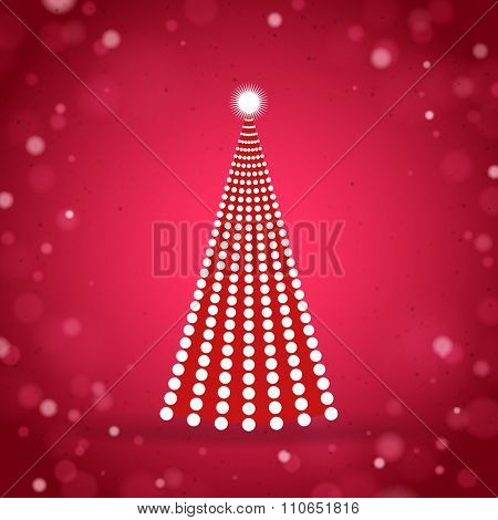 Red greeting card with abstract dots Christmas Tree