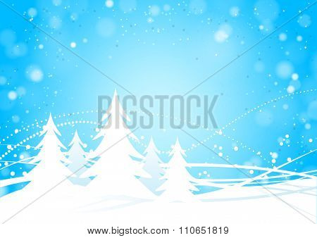 Spruce forest with snowy blue background