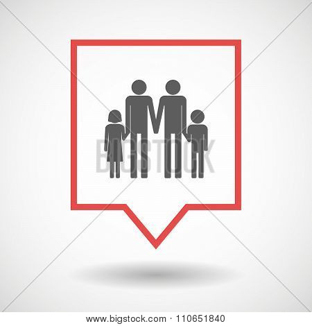 Isolated Tooltip Line Art Icon With A Gay Parents  Family Pictogram
