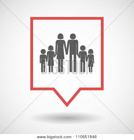 Isolated Tooltip Line Art Icon With A Large Family  Pictogram