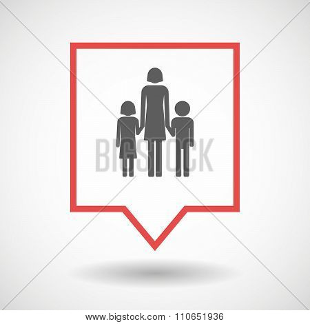Isolated Tooltip Line Art Icon With A Female Single Parent Family Pictogram