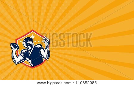 Business Card American Football Quarterback Qb Woodcut