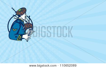 Business Card Bagpiper Bagpipes Scotsman Retro