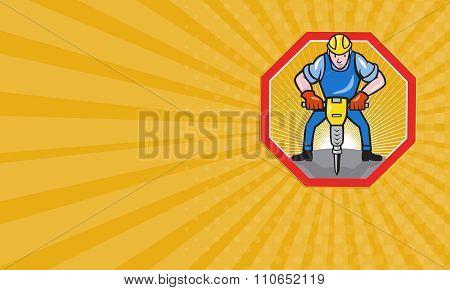 Business Card Construction Worker Jackhammer Pneumatic Drill
