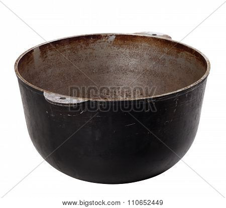 Black Old Dirty Pot Isolated On White