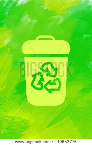 Yellow recycle bin with recycle sign