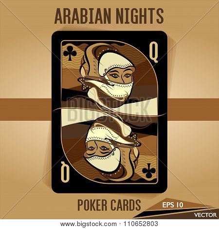 Arabian Nights - Poker Cards - Queen