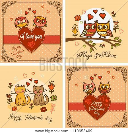 valentines greeting cards set
