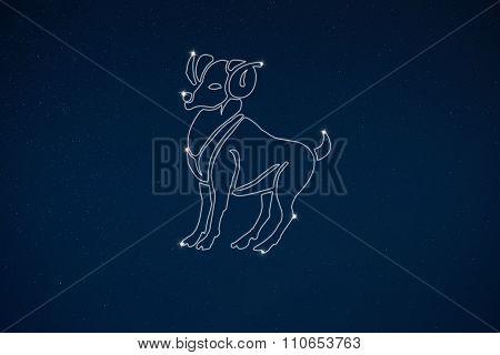 Horoscope Zodiac Sign Aries In Dark Sky