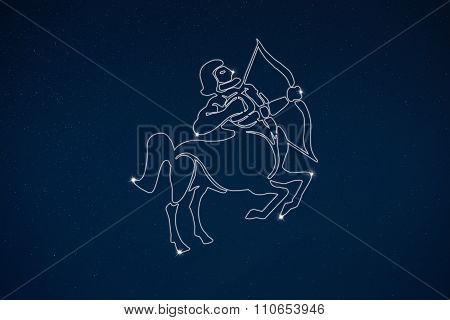 Horoscope Zodiac Sign Sagittarius In Dark Sky