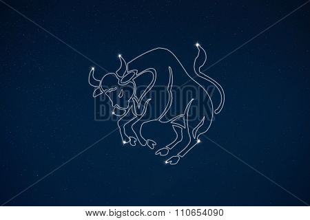 Horoscope Zodiac Sign Taurus In Dark Sky