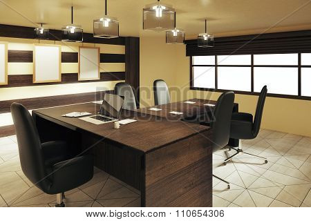 Wood Style Office With Furniture And Office Stuff