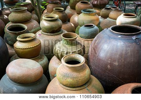 Earthenware Handmade Old Clay Pots In Thailand