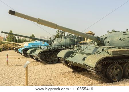 Latrun, Israel - April 02, 2010: Soviet Tanks In Yad La-shiryon
