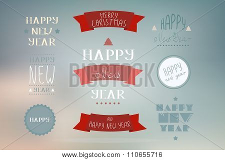 Christmas Decoration Vector Design Elements. Merry Christmas And Happy Holidays Wishes.typographic E