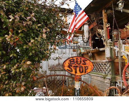 Bus Stop Sign Antique Americana