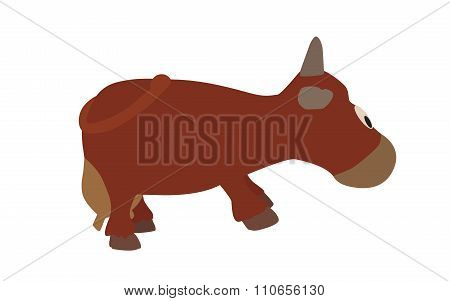 Cow Isolated on White Background. Vector Illustration. EPS10.
