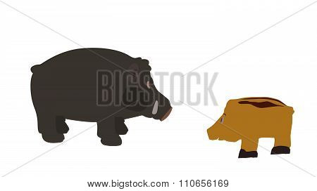 Pig Isolated on White Background. Vector Illustration. EPS10.