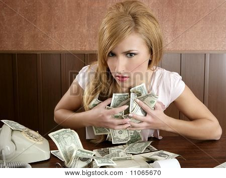 Hebzucht geld Retro vrouw Office Vintage Accountant