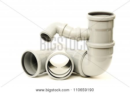 New gray drain pipe on white background