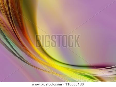 Vivid iridescent background with oval strips and curves