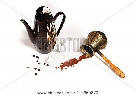 Spilled Coffee, Coffee Beans, Pots And Cezve