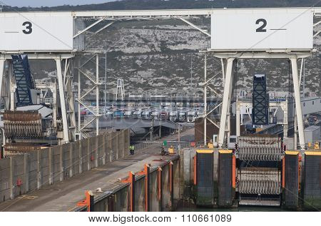 Trucks Are Waiting On Embarkations In Dover