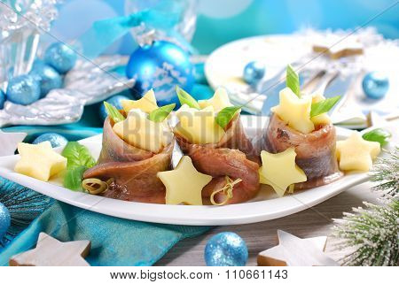 Herring Rolls With Sour Cream ,apple And Potato For Christmas