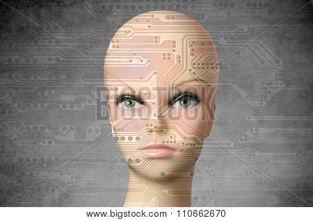 Female Cyborg Head With Human Eyes