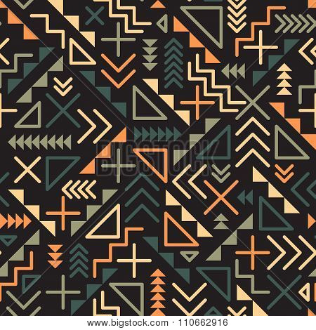 Vector Seamless Retro  Jumble Geometric Line Shapes Green Orange Color Pattern On Black Bac