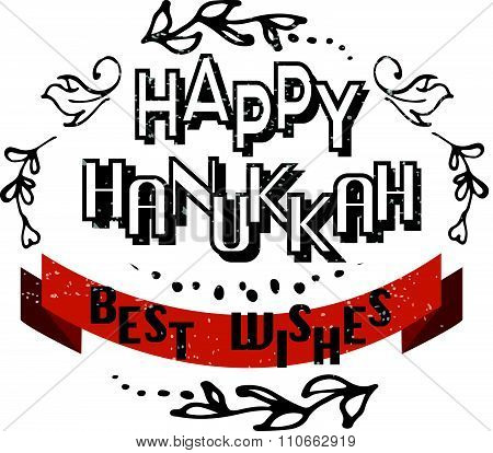 Flat Design Style Hand Sketched Happy Hanukkah Logotype, Badge And Icon