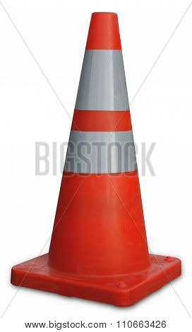 traffic cone orange on white background, web site in construction
