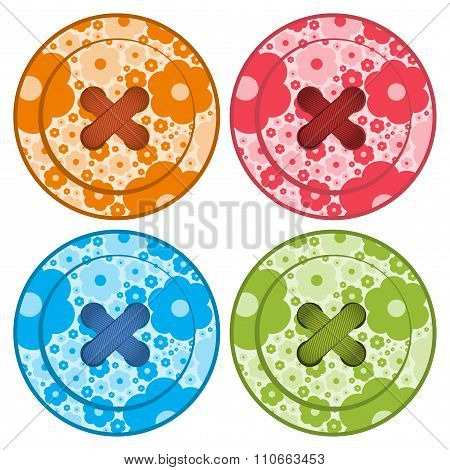 Sewing Buttons Set Vector Red Orange, Blue And Green Colors With Floral Background And Sewing Thread