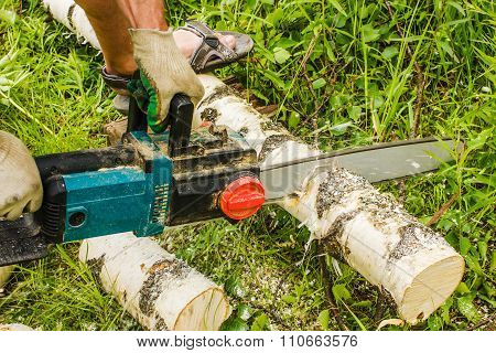 Man Sawing Wood, Using Electric Chainsaws