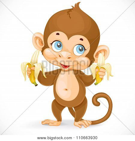 Cute Baby Monkey With Two Bananas Stand On A White Background